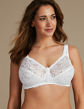 Total Support All-Over Fleur Lace Non-Wired Bra B-G, WHITE, catlanding