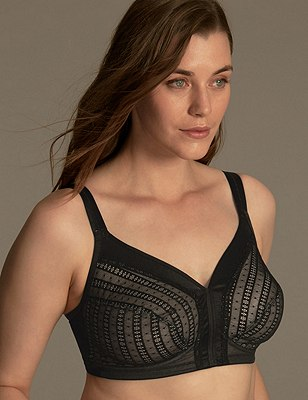 Total Support Mesh Lace Full Cup Bra B-E, BLACK MIX, catlanding