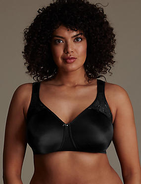 Total Support Hibiscus Embroidered Moulded Smoothing Full Cup Bra B-G, BLACK, catlanding