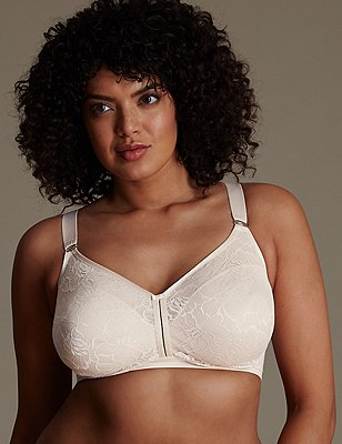 Youthful Lift™ Floral Lace Non-Padded Full Cup Bra B-G, ALMOND, catlanding