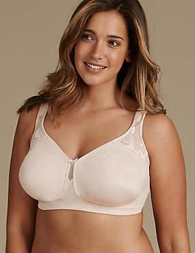 Floral Embroidered Total Support Non Padded Full Cup Bra B-G, ALMOND, catlanding
