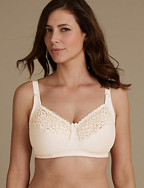 Total Support Vintage Lace Non Padded Full Cup Bra B-G , ALMOND, catlanding