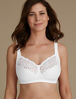 Total Support Vintage Lace Non-Padded Full Cup Bra B-G, WHITE, catlanding
