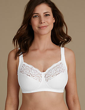 Total Support Vintage Lace Non Padded Full Cup Bra B-G , WHITE, catlanding