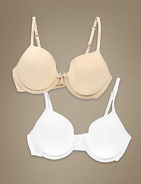 2 Pack Moulded Underwired Bras , WHITE MIX, catlanding