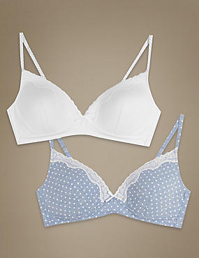 2 Pack Cotton Rich Moulded Non-Wired Spotted Bras
