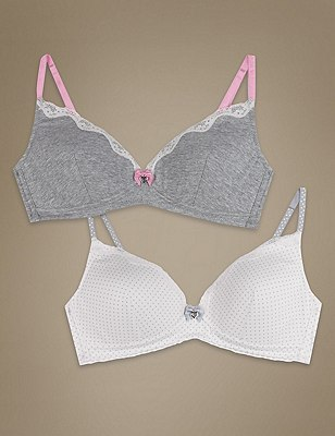 2 Pack Cotton Rich Moulded Non-Wired Spotted Bras, CREAM MIX, catlanding