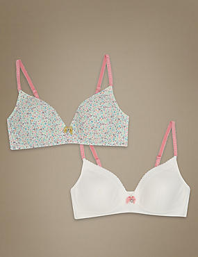 2 Pack Non Wired Ditsy Floral Bra (A-E), SPEARMINT, catlanding