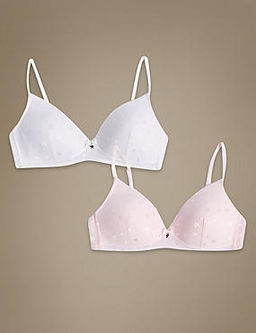 2 Pack Padded Full Cup First Bras A-D, WHITE MIX, catlanding