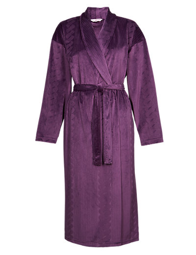 Shawl Collar Cable Design Dressing Gown Clothing
