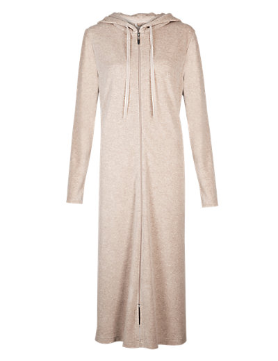 Hooded Zip Through Velour Dressing Gown Clothing