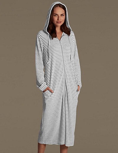 Velour Zip Through Striped Dressing Gown | M&S