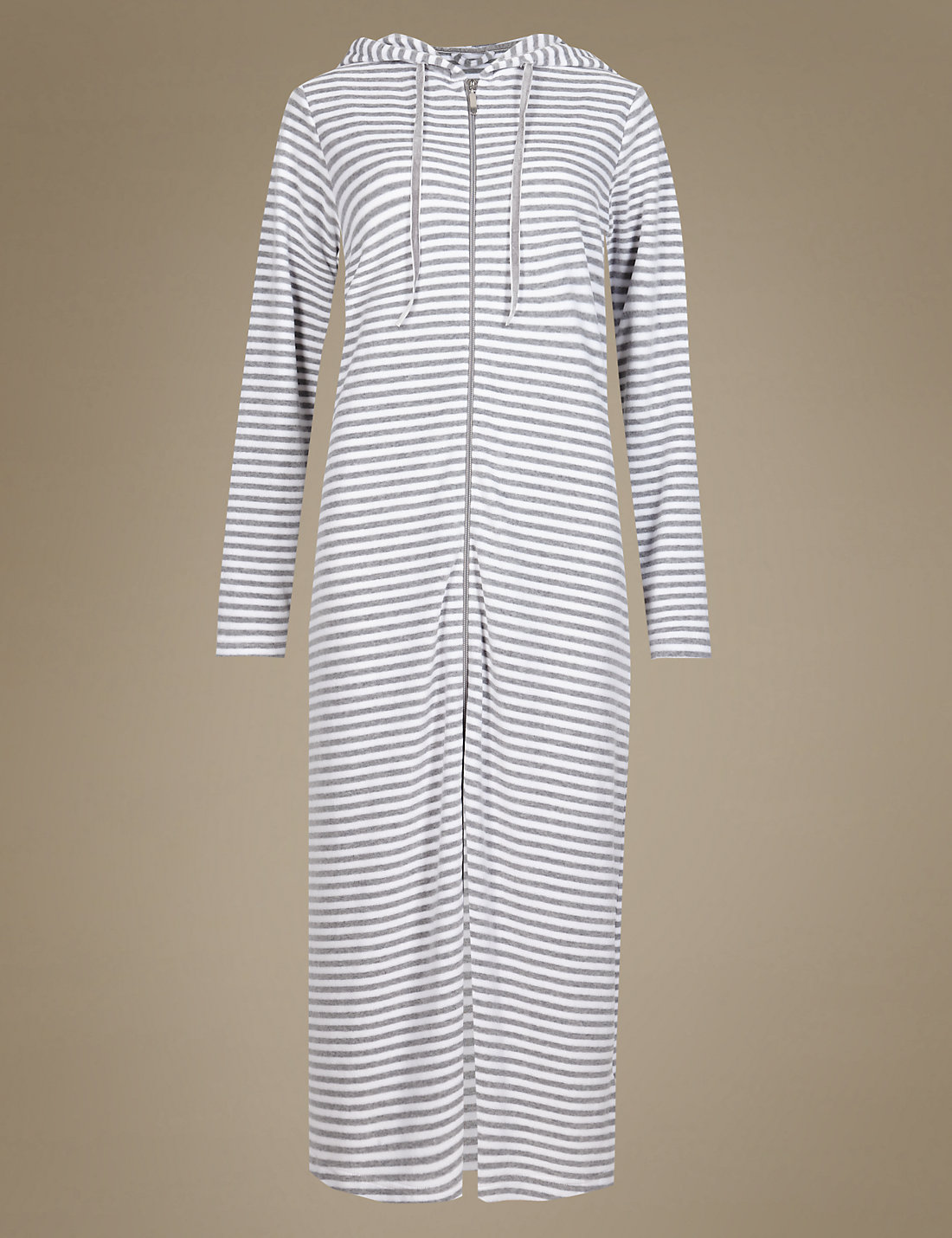 Velour Zip Through Striped Dressing Gown | M
