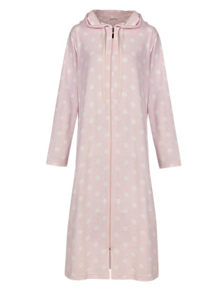 Spotted Zip Through Towelling Dressing Gown Clothing