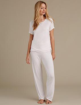 Short Sleeve Pinspot Pyjamas, PINK MIX, catlanding