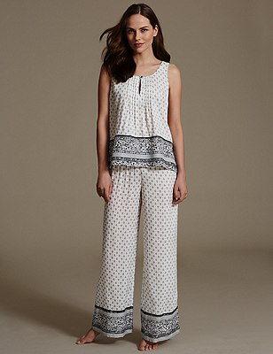 Pure Modal Foulard Pyjamas, BLACK MIX, catlanding