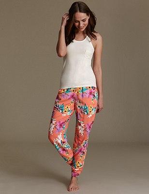 Cuffed Hem Paradise Floral Pyjamas, CORAL MIX, catlanding