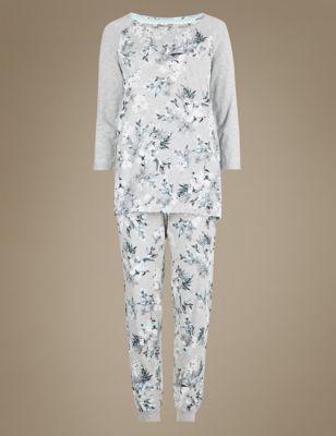 Хлопковая пижама с цветочным рисунком M&S Collection T370646