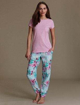 Floral Cuffed Hem Pyjamas, AQUA MIX, catlanding