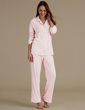 Pyjama met platte kraag en madeliefjesmotief , ROZE, catlanding