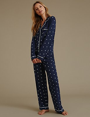 Daisy Print Revere Collar Pyjamas , NAVY MIX, catlanding