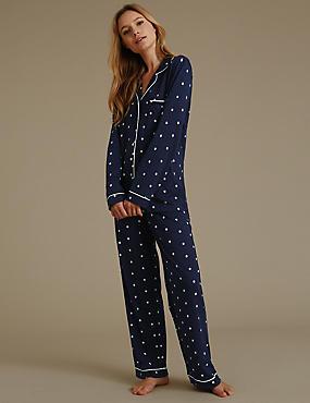 Pyjama met platte kraag en madeliefjesmotief , MARINE MIX, catlanding