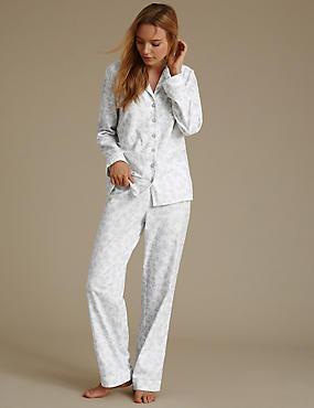 Pyjama 100% coton à motif ombré et encolure à revers, GRIS ASSORTI, catlanding