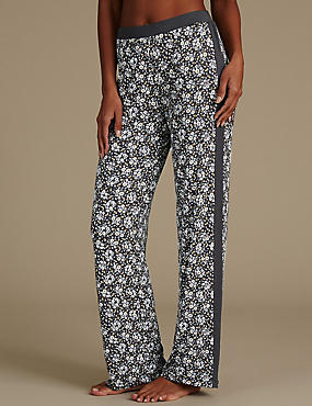 Floral Print Straight Leg Pyjama Bottoms, BLACK MIX, catlanding
