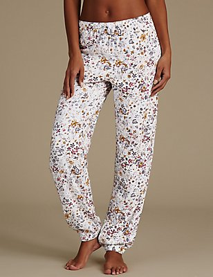Floral Print Cuffed Hem Pyjama Bottoms, CREAM MIX, catlanding