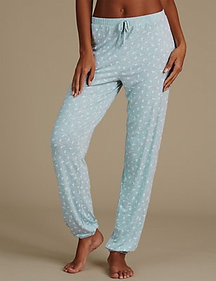 Leaf Print Frill Cuffed Pyjama Bottoms, MINT MIX, catlanding