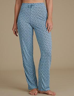Feather Print Pyjama Bottoms, BLUE, catlanding