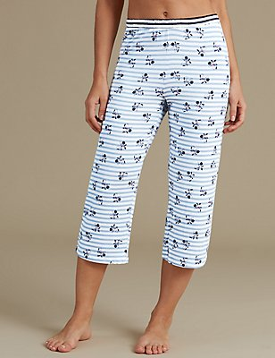 Floral Print Cropped Pyjama Bottoms, BLUE MIX, catlanding