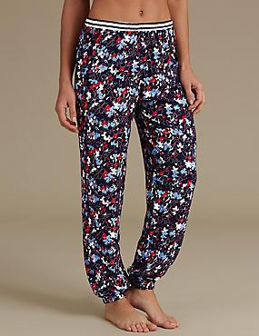 Pantalon de pyjama à imprimé fleuri, BLEU MARINE ASSORTI, catlanding