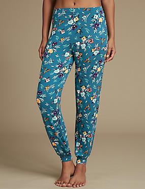 Floral Print Cuffed Hem Pyjama Bottoms, TEAL MIX, catlanding