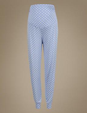 Maternity Spotted Pyjama Bottoms, BLUE MIX, catlanding
