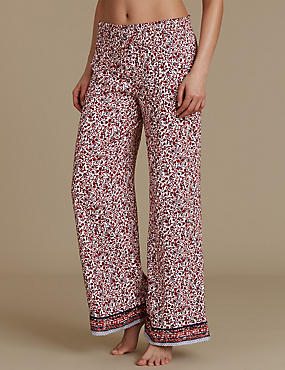 Floral Print Palazzo Pyjama Bottoms, RED MIX, catlanding