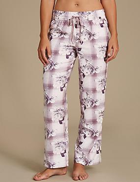 Cotton Blend Floral Print Long Pyjama Bottoms, PINK MIX, catlanding