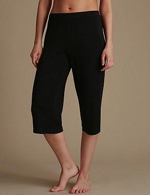 Pull On Cropped Pyjama Bottoms, BLACK MIX, catlanding