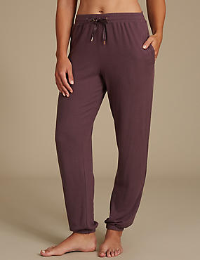 Cuffed Hem Pyjama Bottoms, PURPLE, catlanding