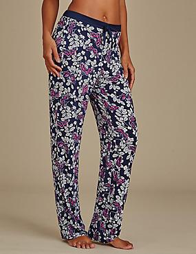 Butterfly Print Long Pyjama bottoms, NAVY MIX, catlanding