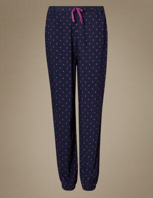 Пижамные брюки с манжетами в мелкую звёздочку