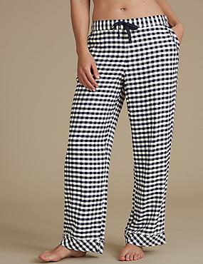Gingham Pyjama Bottoms, NAVY MIX, catlanding