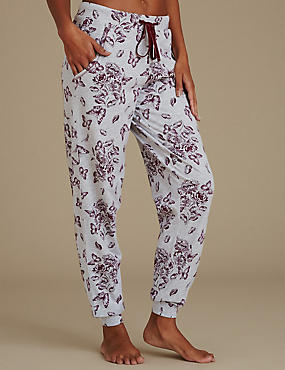 Floral Print Pyjama Bottoms, GREY MIX, catlanding