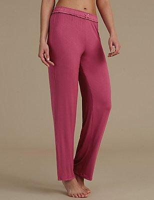 Straight Leg Pyjama Bottoms, MAGENTA, catlanding
