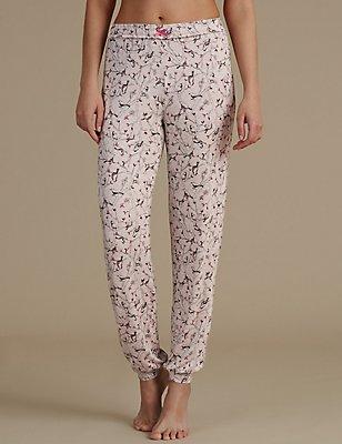 All Over Bird Print Cuffed Pyjama Bottoms, OATMEAL, catlanding