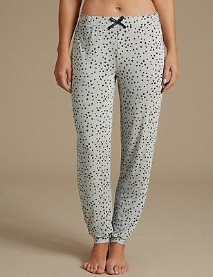 Star Print Glitter Cuffed Hem Pyjama Bottoms, GREY MIX, catlanding