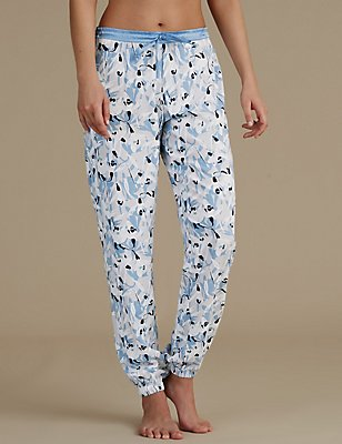 Floral Print Cuffed Pyjama Bottoms, BLUE MIX, catlanding