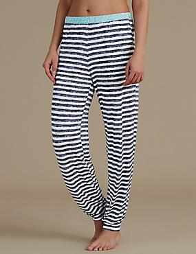 Cuffed Striped Pyjama Bottoms, NAVY MIX, catlanding