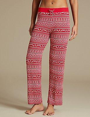 Fairisle Print Straight Leg Pyjama Bottoms, RED MIX, catlanding