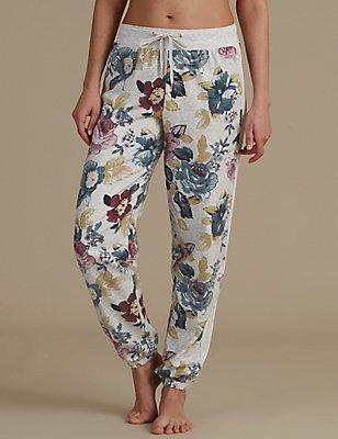 Floral Print Pyjama Bottoms, BLUE MIX, catlanding